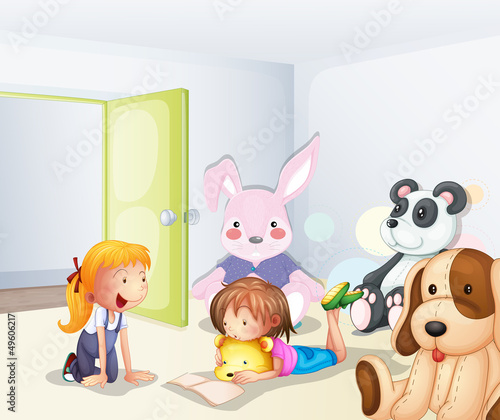 Foto op Plexiglas Beren A room with kids and animals