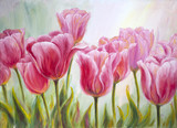 Tulips, oil painting on canvas - 49607028