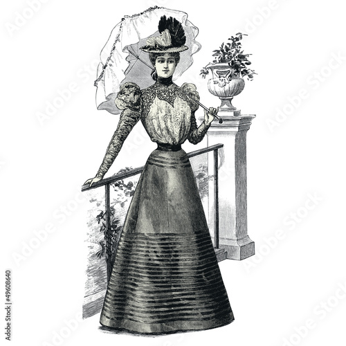 Obraz Elegant Woman with a Parasol - fototapety do salonu