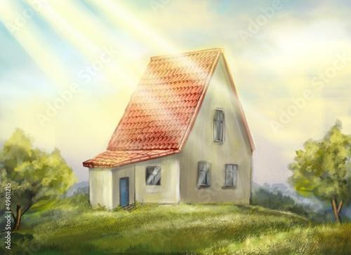 Spoed Foto op Canvas Boerderij Country house. sunny morning.