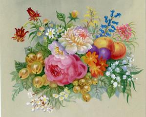 Fototapeta Vintage Flowers and fruit