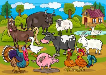 farme životinje zemlja scena crtić ilustracija