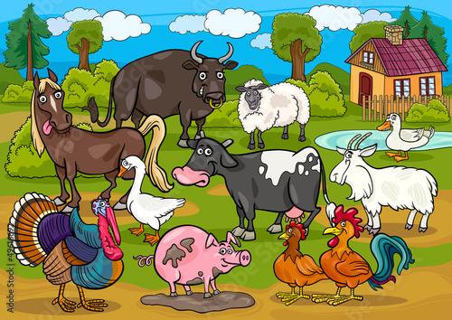 Spoed Foto op Canvas Boerderij farm animals country scene cartoon illustration