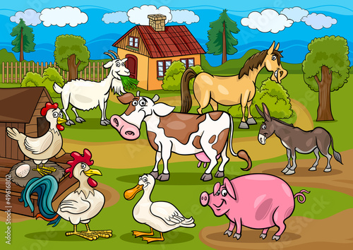 Photo sur Toile Ferme farm animals rural scene cartoon illustration