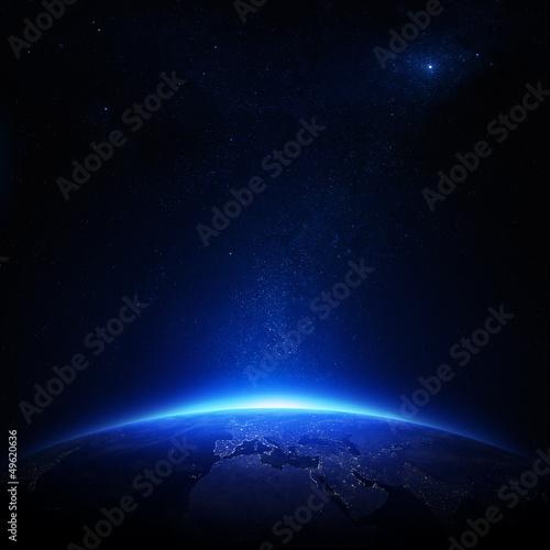 obraz lub plakat Ziemia w nocy z światła miasta
