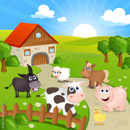 Photo sur Toile Ferme Vector Illustration of Farm Animals