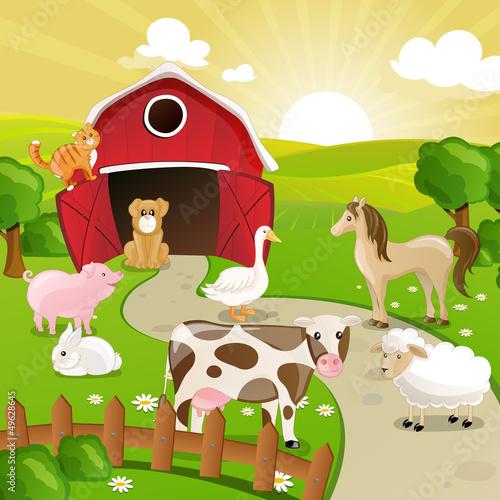 Foto auf Leinwand Hunde Vector Illustration of Farm Animals