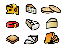 Cheese And Crackers Icon Set