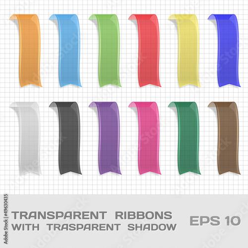 Fototapeta Transparent Ribbons Set 1. Tags, Bookmarks. Vector