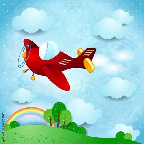 Keuken foto achterwand Vliegtuigen, ballon Red airplane