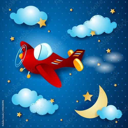 Deurstickers Vliegtuigen, ballon Red airplane at night