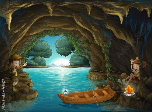 A young girl and boy inside the cave - Buy this stock vector