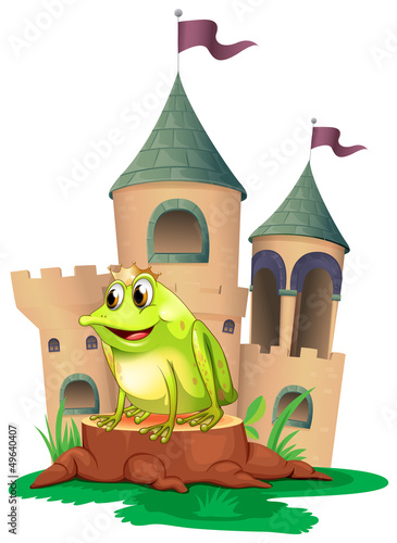 Poster Castle A frog prince with a castle at his back