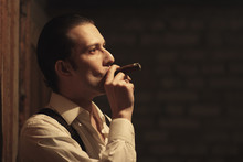 Portrait Of Young Gangster With Cigar