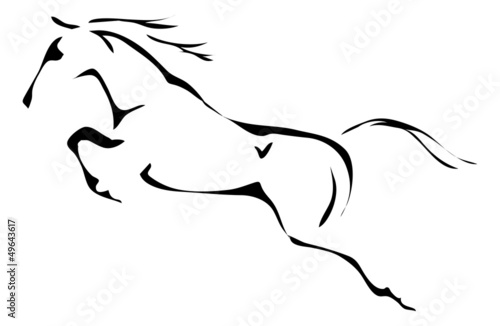 Fotomural black and white vector outlines of jumping horse