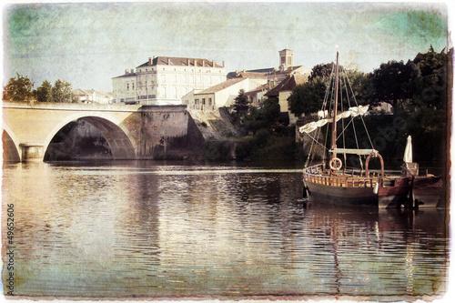 Photo Gabare sur la Dordogne à Bergerac, style vintage