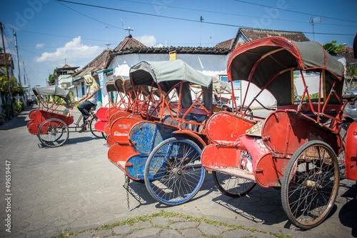 Foto op Aluminium Xian Trishaws in the street of Surakarta, Indonesia