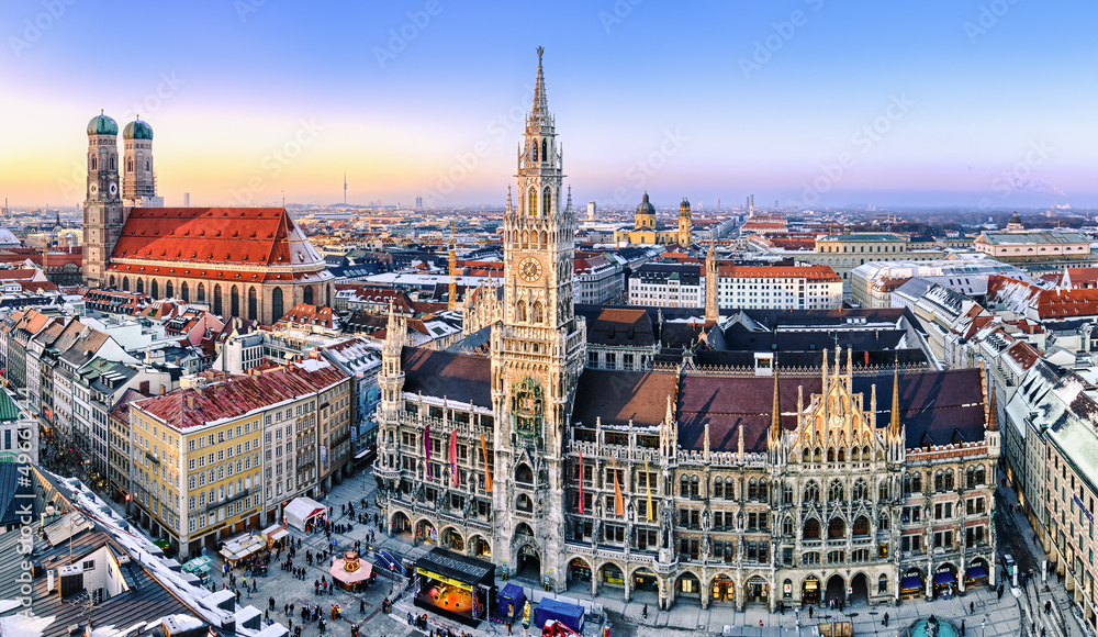 Fototapety, obrazy: Panorama München Innenstadt im Abendlicht