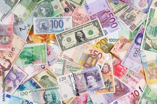 Fotografía  Geldscheine bilden einen Hintergrund