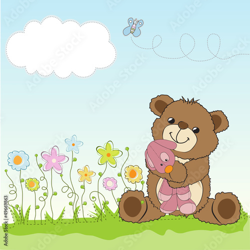 Fotografie, Obraz  childish greeting card with teddy bear and his toy