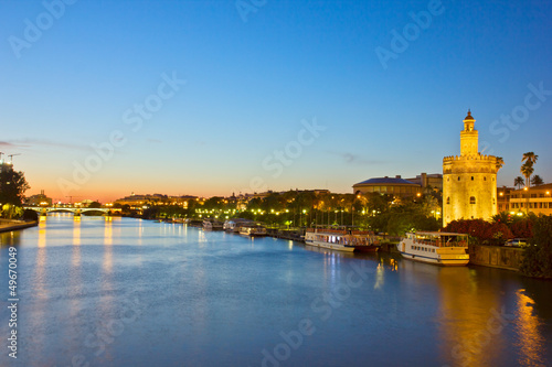 Poster Artistique cityscape of Sevilla at night, Spain
