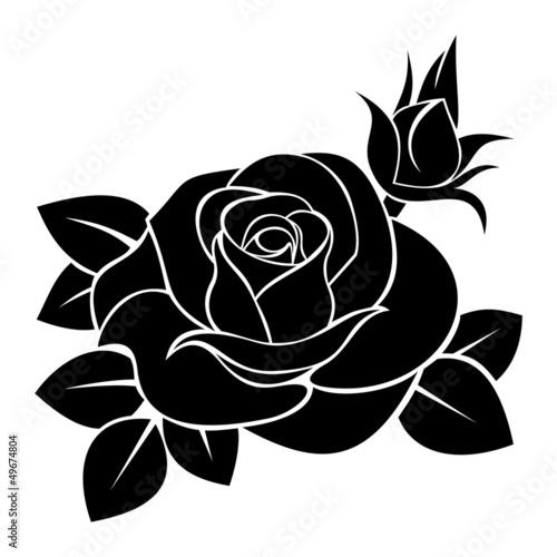 czarna-sylwetka-rozy-ilustracji-wektorowych