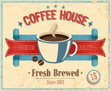 Vintage Coffee House Card. Vector Illustration.