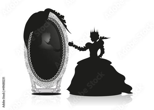 Fotografie, Obraz  Die böse Königin vor dem sprechenden Spiegel