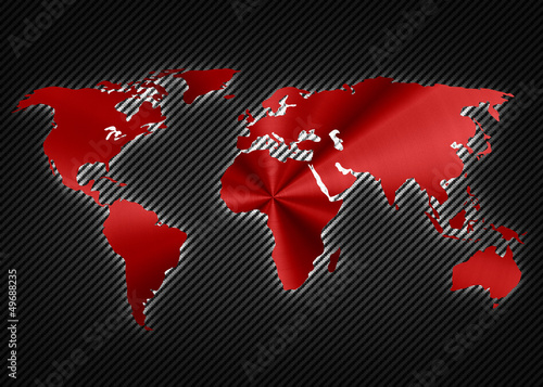 Cool red metalic map of the world on the carbon background