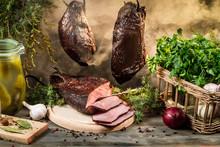 Rural Smokehouse Ham Preparation For Smoking