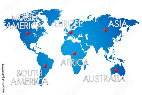 Türaufkleber Weltkarte Three-dimensional map of the world