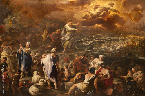 Obraz na płótnie Bergamo - Crossing the Red sea - paint form cathedral
