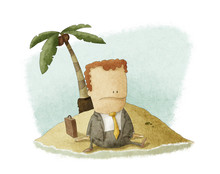 Businessman Castaway On Island