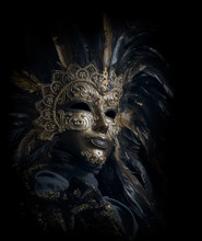 Luxurious Venetian Mask Isolated On Black