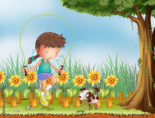 Garden Poster Dogs A girl playing jumping rope with a dog