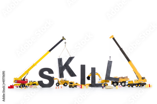 Fotografie, Obraz  Developing skills: Machines building skill-word.
