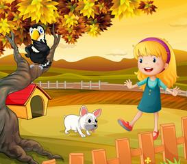Djevojčica sa psom i pticom