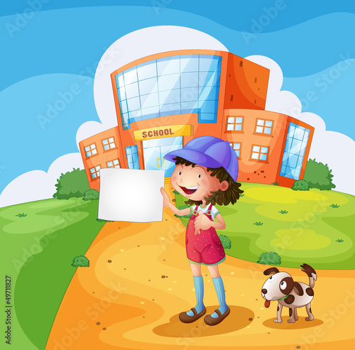 Poster Dogs A child with a piece of paper standing in front of the school