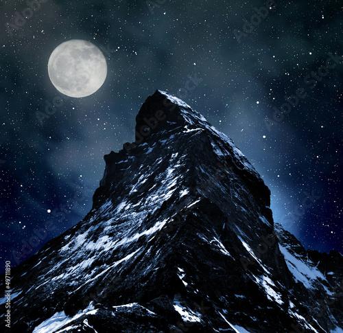 Fotobehang Volle maan Matterhorn on night sky