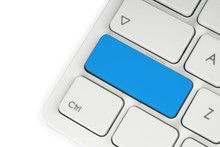 Blank Blue Button On The Keyboard Close-up .