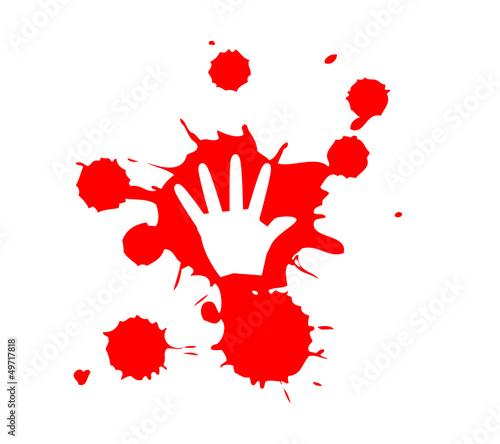 Stop Violence Blood hand print Canvas Print