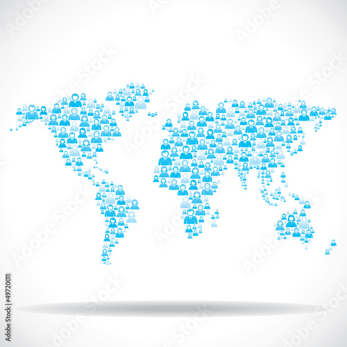 Photo  blue people make world map stock vector