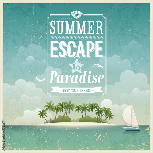 Photo  Vintage seaside view poster. Vector background.