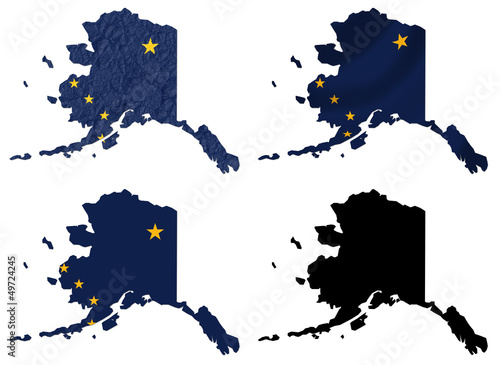 Us Map Photo Collage.Us Alaska State Flag Over Map Collage Buy This Stock Illustration