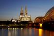 Köln - Kölner Dom und Hohenzollernbrücke am Abend