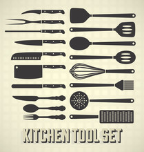 Vector Set: Kitchen Utensils In Vintage Style