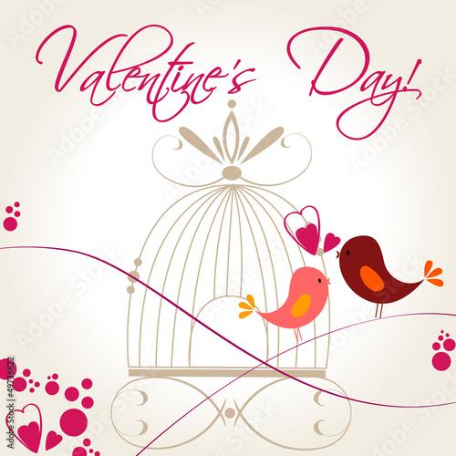 In de dag Vogels in kooien Cute birds in love illustration