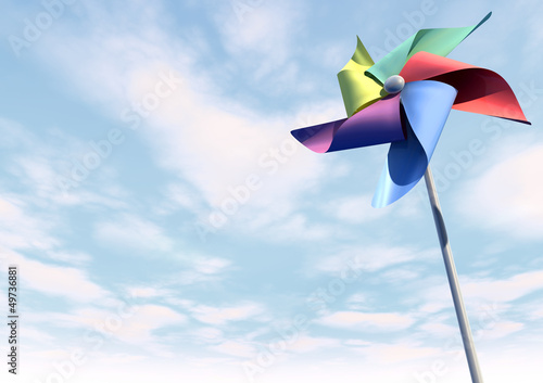 Valokuva  Colorful Pinwheel On Blue Sky Perspective
