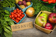 canvas print picture - Organic market fruits and vegetables