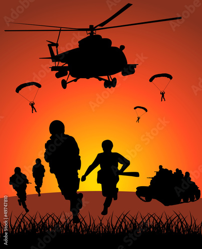 Foto op Canvas Militair Military action against the sunset